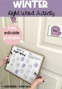 Winter Editable Sight Word Activity for Pre-K and Kindergarten, free printable literacy center