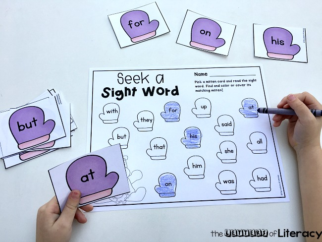 Winter Seek a Sight Word Literacy Activity, FREE Printable for pre-k and kindergarten!