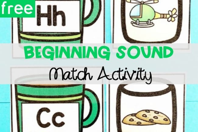 FREE Printable Hot Chocolate Beginning Sounds Match Activity for Kindergarten centers and small groups!