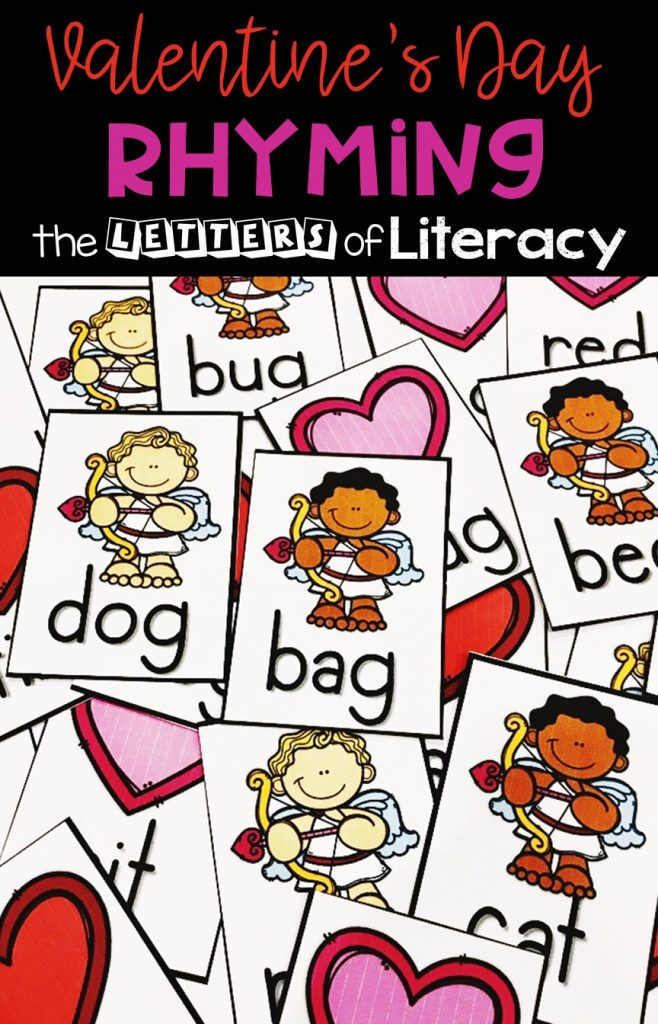 FREE Printable Valentine's Day Rhyming Activity for Kindergarten! Easy-prep activity with 4 Ways to Play! Perfect for your literacy center this February!