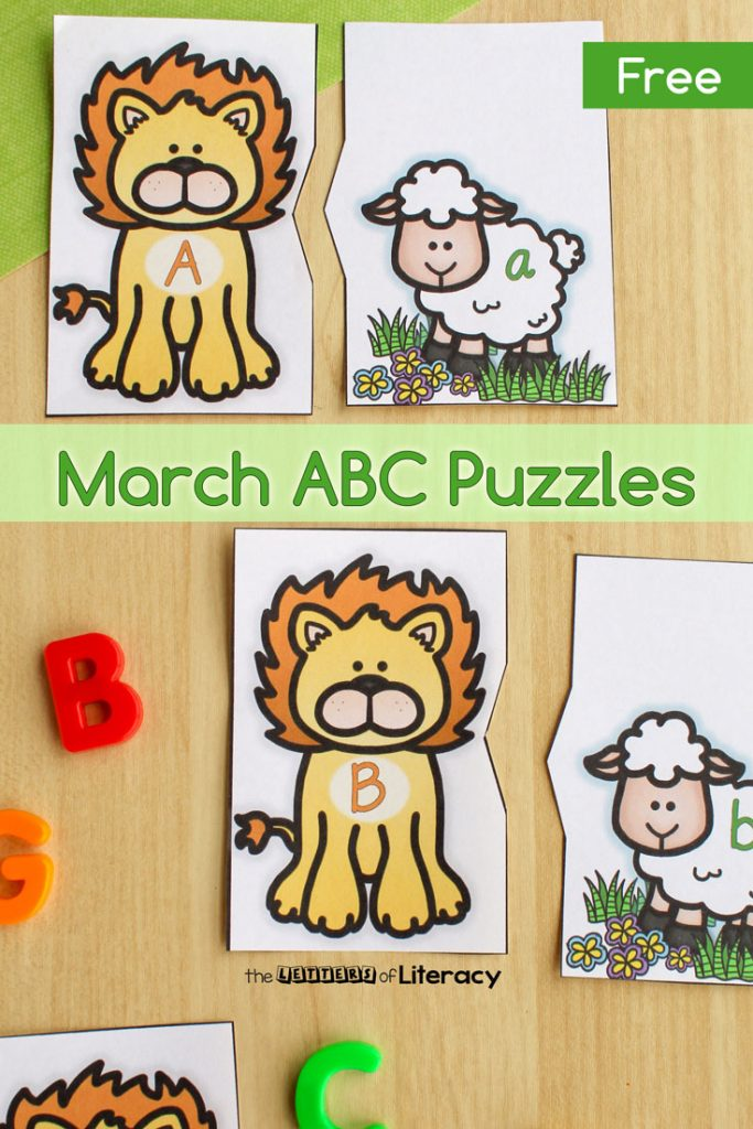 FREE Printable Lion & Lamb Alphabet Puzzles for pre-k and kindergarten!
