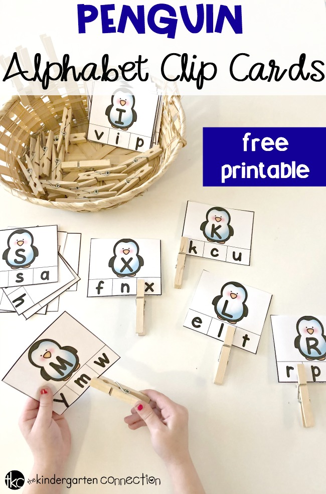 FREE Penguin Alphabet Clip Cards for Pre-K and Kindergarten!