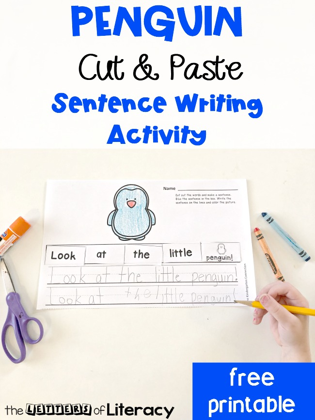 FREE Printable Penguin Sentence Writing Cut & Paste Activity for kindergarten! This activity is perfect for small groups or writing center. Introduce writing structure and practice fine motor skills too!