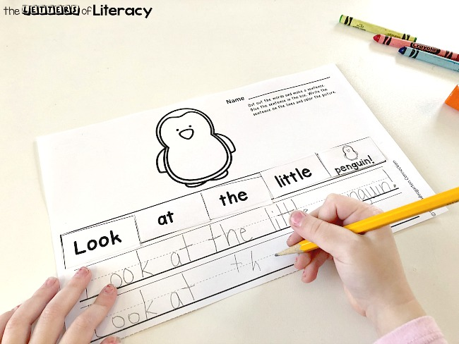 Writing Cut & Paste Activity for kindergarten! This activity is perfect for small groups or writing center. Introduce writing structure and practice fine motor skills too!