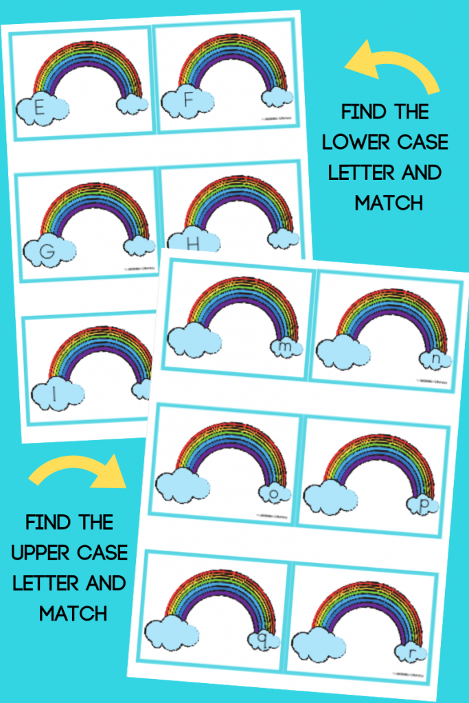Grab our FREE Printable Rainbow Upper and Lowercase Matching Activity for your literacy center this spring! Perfect for pre-k and kindergarten students!