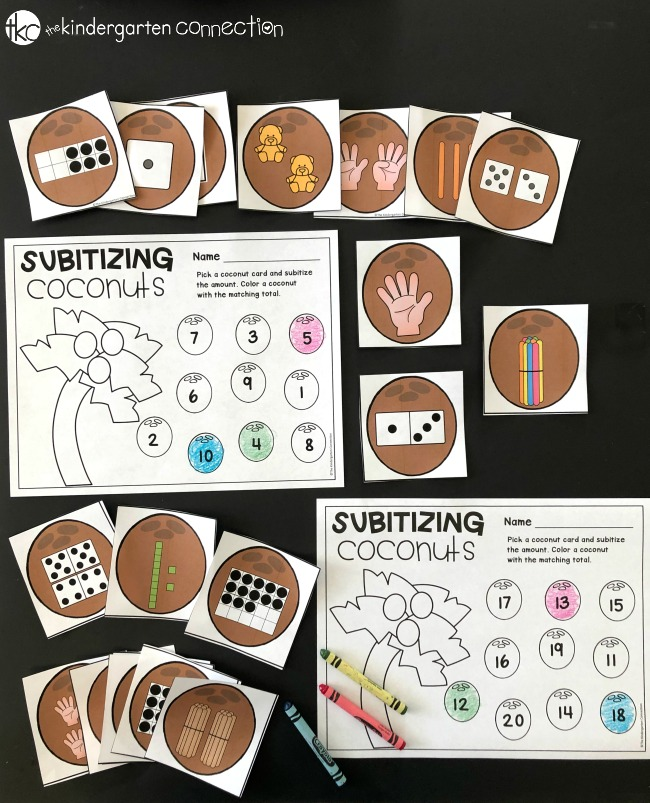 Grab our Subitizing Math Centers for Pre-K and Kindergarten! Work on early couting skills with these easy-prep math center activities!