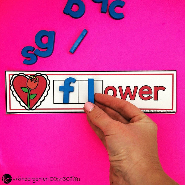 Grab our FREE Printable Valentine's Day Consonant Blend Magnet Mats for your Kindergarten literacy center! You can also use in small groups, morning work and early finishers!