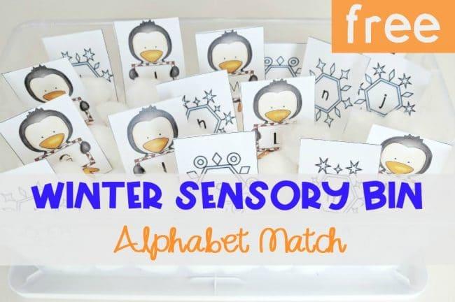 Winter Sensory Bin Alphabet Match, FREE Printable