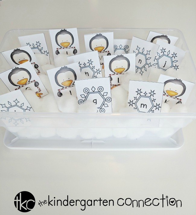 Grab our FREE Winter Sensory Bin Alphabet Match for your Pre-K and Kindergarten literacy center or small groups!
