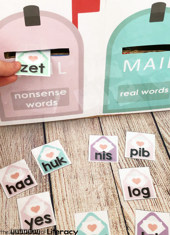 Grab our FREE Printable Valentine's Day Real & Nonsense CVC Word Sort Activity for your Kindergarten literacy center this February!