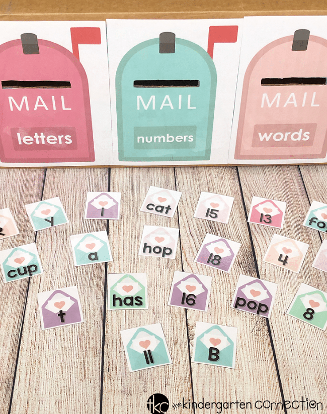 Grab our FREE Printable Letter, Number, Word Valentine Sort Activity! It's perfect for your small groups or centers this February!