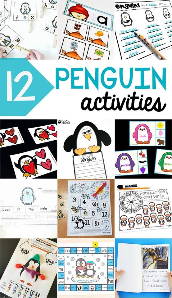 Fun penguin activities for kids! Get free printable penguin math centers, penguin literacy centers, and more!