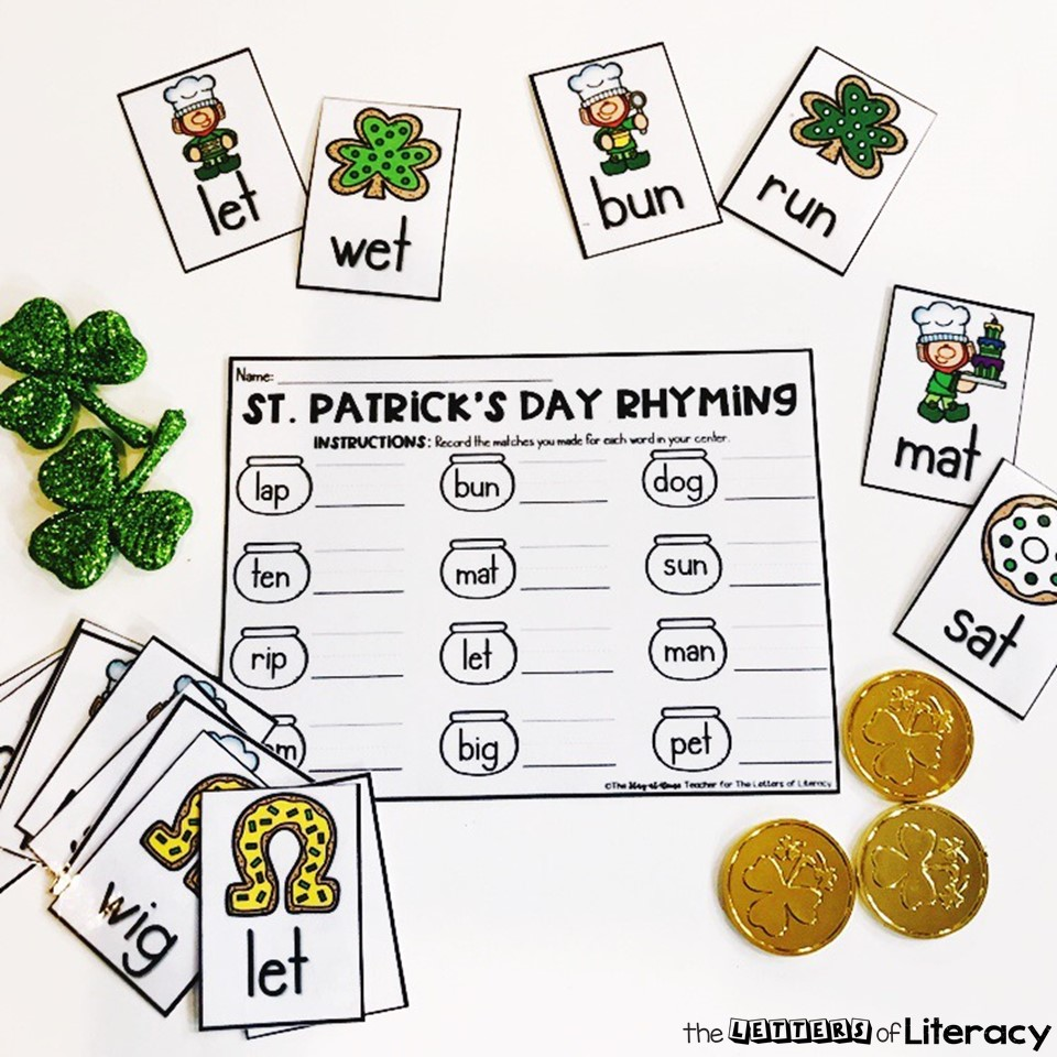 Get our FREE Printable St. Patrick's Day Rhyming Activity for your Kindergarten Literacy Center this spring! Easy prep activity comes with recording sheet!