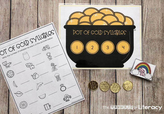 Grab our FREE Printable St. Patrick's Day Syllable Counting Activity for your Kindergarten Literacy Center this March! Fun activity with pot of gold theme can be used in small centers or partner up for a fun game!