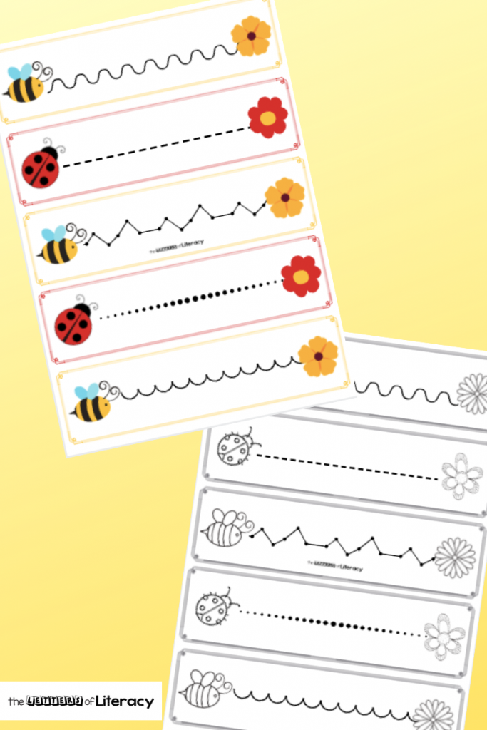 These Bees and Bugs Pre-Writing Practice Printables are perfect to use in the springtime for building up early writing skills and fine motor muscles! Set includes both color and black and white options.