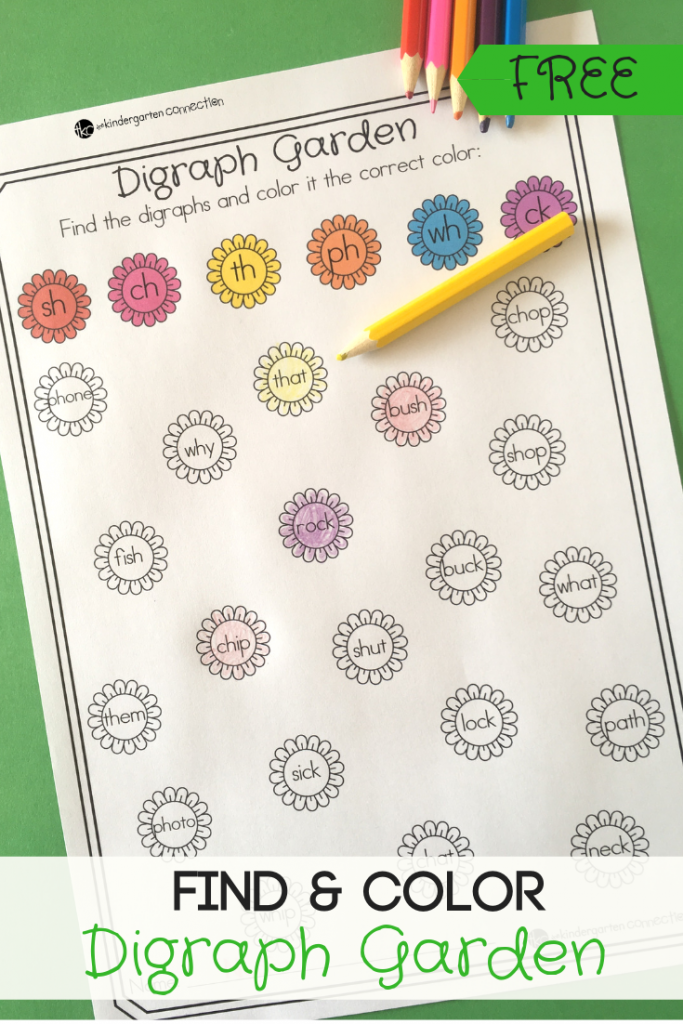Grab our FREE Printable Find & Color Garden Digraph Activity for your springtime literacy center! With 4 Ways to Play this center will be a hit!