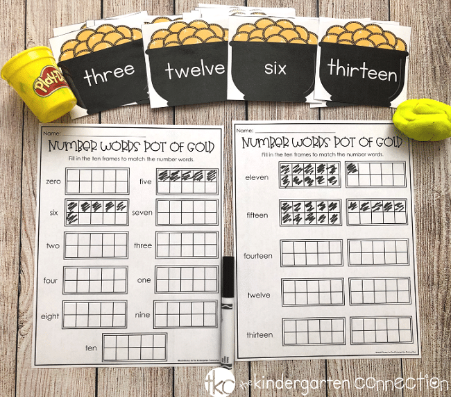 Grab our FREE Pot of Gold Number Words Printable Counting Mats and your kindergarten students will be reading number words, counting and working fine motor muscles too!