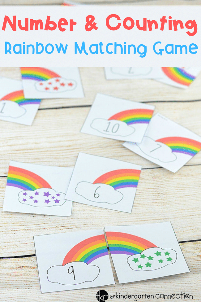 Work on numbers and counting with these super fun rainbow counting number puzzles! Match the sets together, play as a memory game, and more! Perfect for St. Patrick's Day, spring, or anytime! In the classroom this can be used as an individual activity, a pair or small group math center! #mathcenter #kindergarten #rainbowactivitiy #numbersense