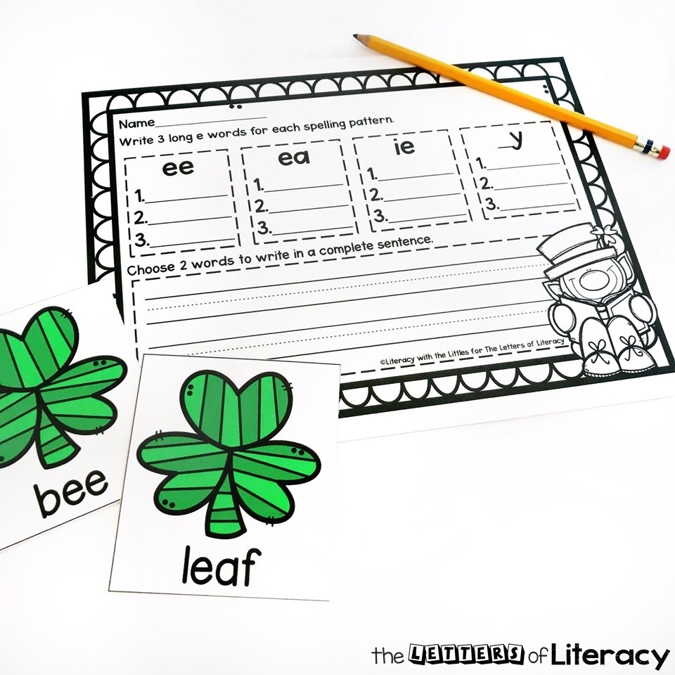 Grab our FREE Printable St. Patrick's Day Sorting Long E Activity for your Kindergarten literacy center! With many ways to play this activity will be a hit!