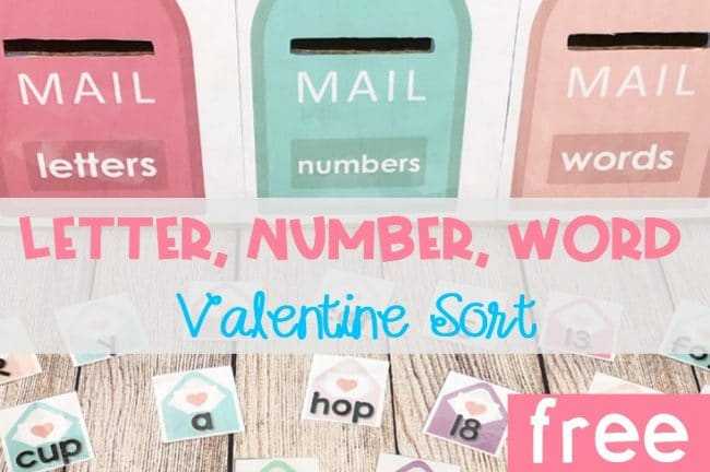 Letter, Number, Word Valentine Sort