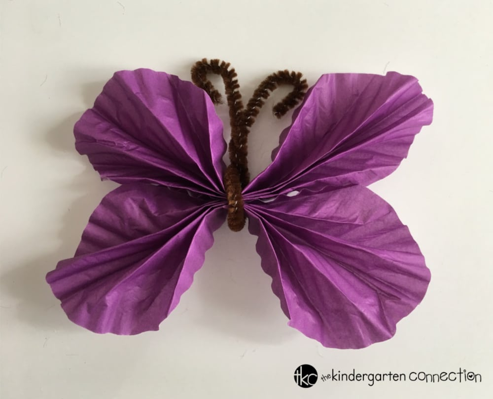 Paper Butterfly - Easy Spring Craft for Kids with tutorial. Make a paper butterfly craft with kids using just 2 supplies!