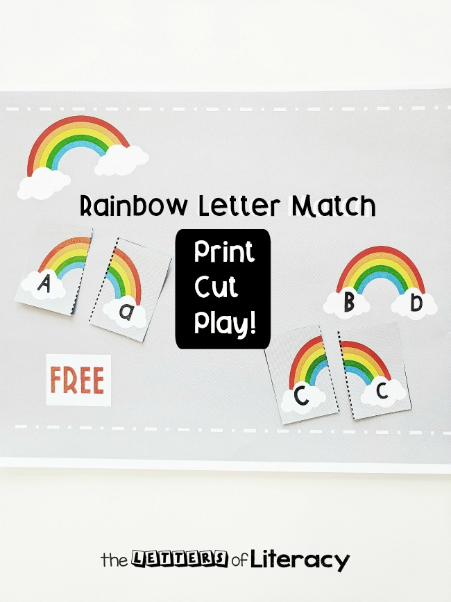 Grab our FREE Rainbow Printable Alphabet Matching Game for your Pre-K and Kindergarten Literacy Center! With 4 Ways to Play, this center activity is sure to be a hit in your classroom!