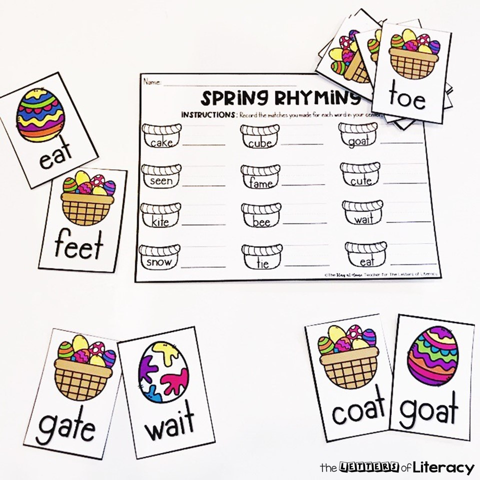 Check out our Easter Eggs Rhyming Activity Sensory Bin with FREE Printables! This activity is perfect for kindergarten small groups or literacy center!