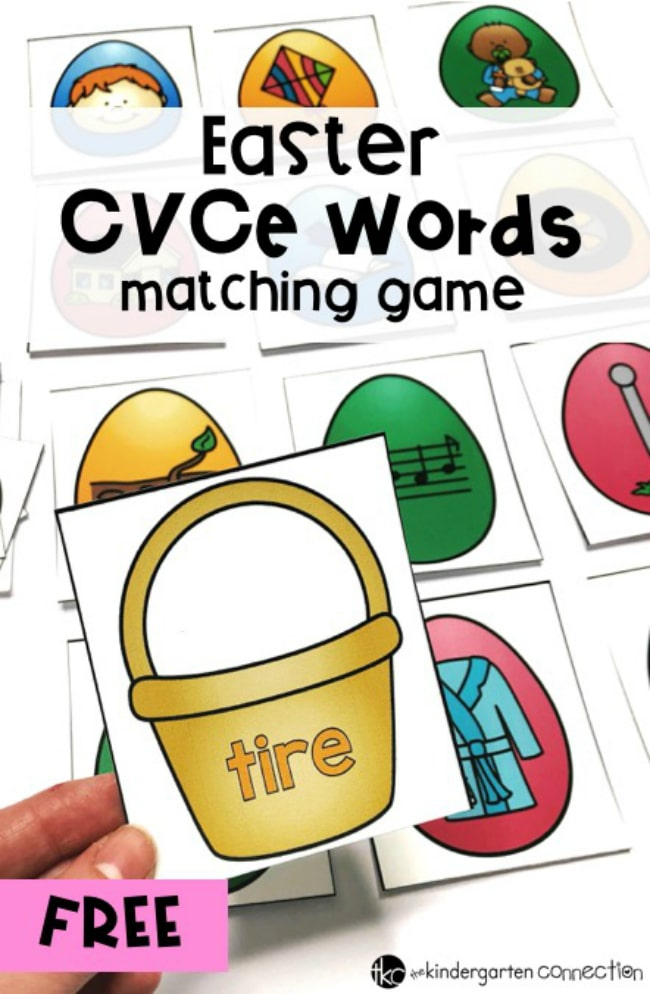Get our FREE Printable Easter CVCe Words Matching Game for your Kindergarten literacy center this spring! Children can work independently or in pairs!