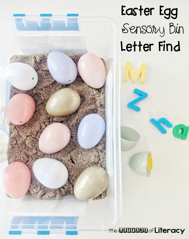 Find out how to make an Easter Egg Sensory Bin with frugal supplies that you already have on hand! Our favorite way to use this sensory bin is for a Letter Find activity!