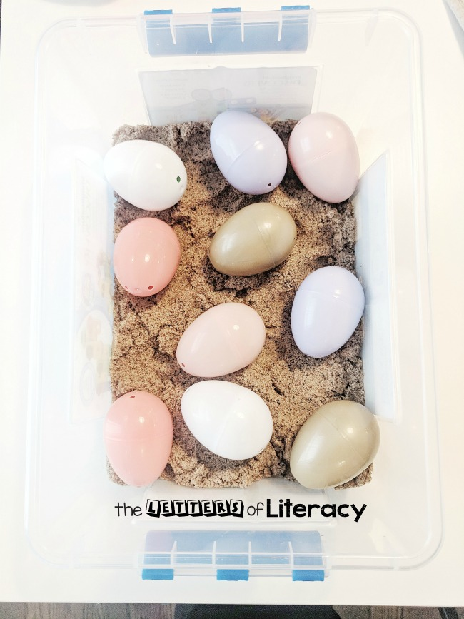 Egg Sensory Bin with frugal supplies that you already have on hand! Our favorite way to use this sensory bin is for a Letter Find activity!