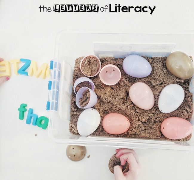 Check out our Egg Sensory Bin with frugal supplies that you already have on hand! Our favorite way to use this sensory bin is for a Letter Find activity!