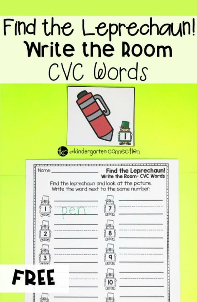 Grab our FREE Leprechaun CVC Words Write the Room Activity for your writing center! Students will be up and moving with this St. Patrick's Day activity!