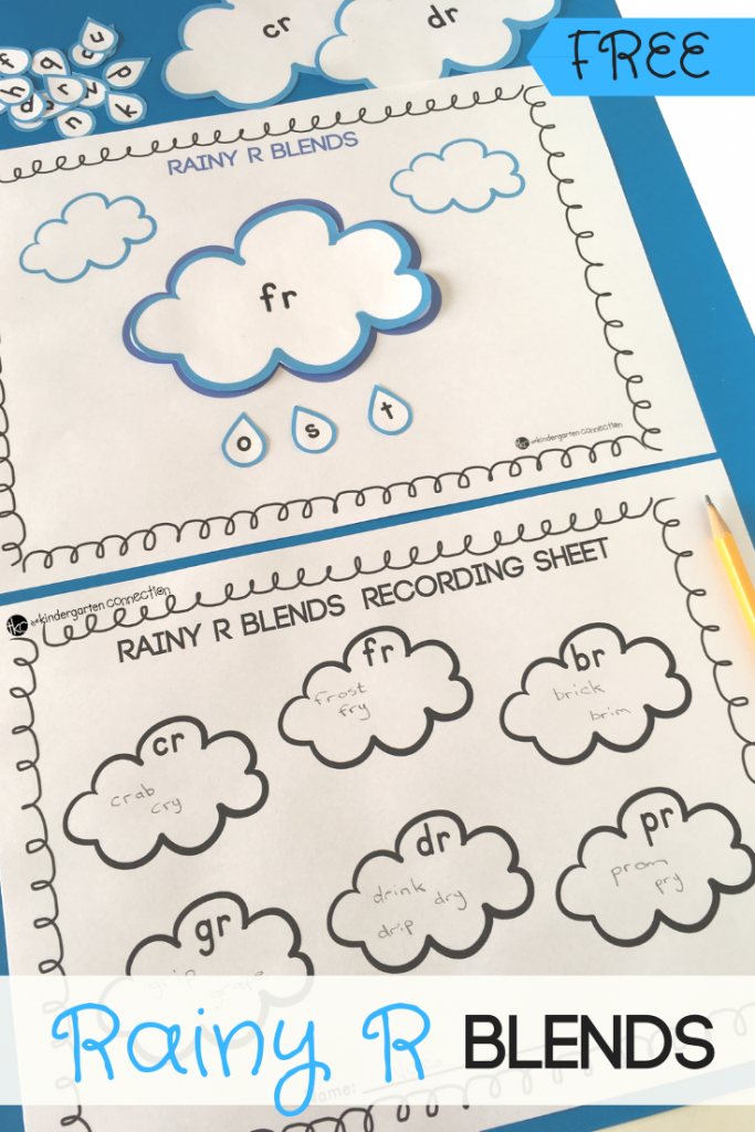 """FREE Printable Springtime """"R"""" Consonant Blends Activity for practicing the 6 most common consonant blends - """"cr"""", """"fr"""", """"br"""", """"gr"""", """"dr"""", """"pr."""" This center activity can be used in your kindergarten literacy center."""