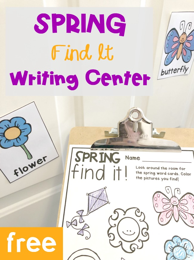 FREE Printable Spring Find It Writing Center for Pre-K and Kindergarten!