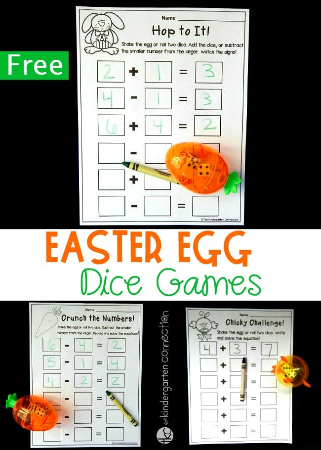 Practice addition and subtraction this spring with these FREE PRINTABLE Spring Math Games with Dice! Even better? Turn them into Easter Egg Dice Games by pairing them with clear plastic Easter Eggs to make learning math facts extra fun!