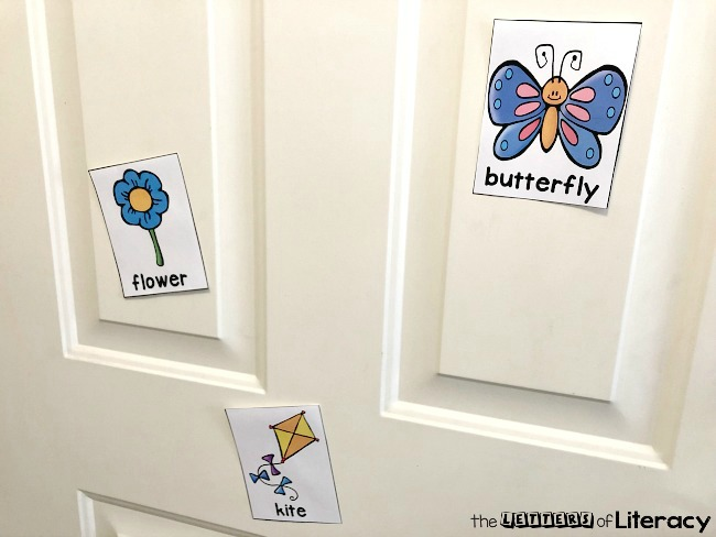 "FREE Printable Spring ""Find It"" Writing Center Activity for Pre-K and Kindergarten! Get your students up and moving around the classroom!"