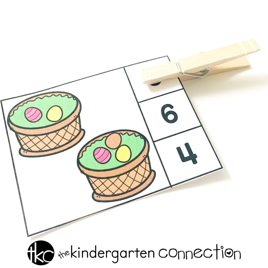 Get our FREE Printable Spring Easter Basket Addition Math Clip Cards for your Kindergarten math center! This is easy-prep activity can be used independently or in pairs!