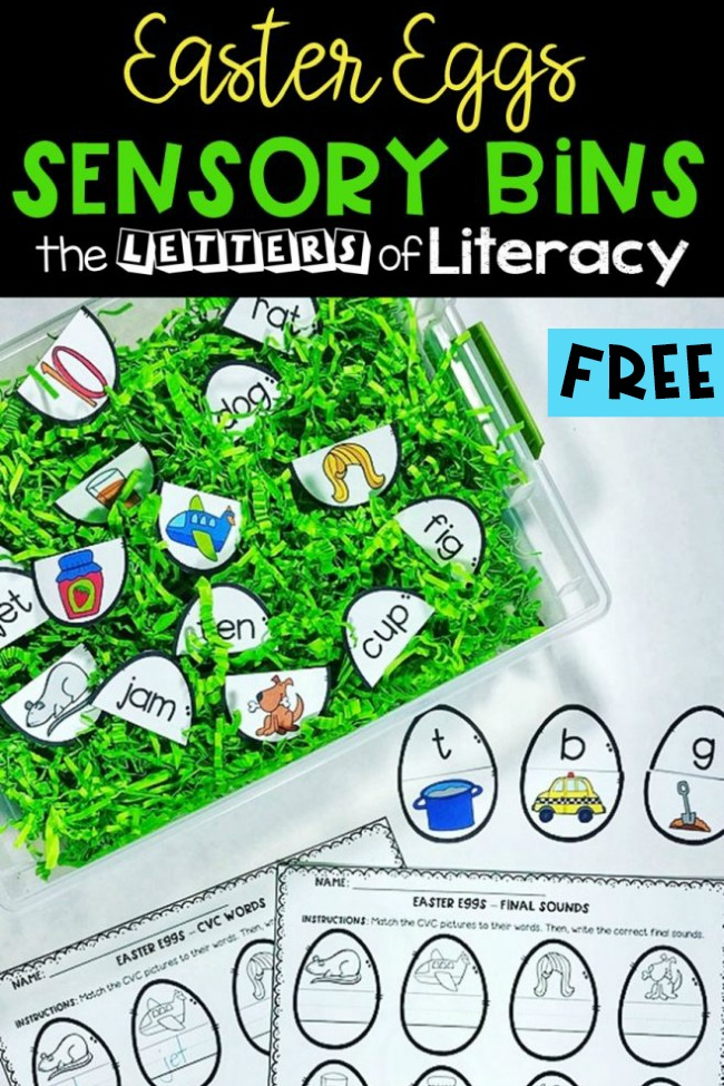 These Easter Sensory Bins are so much fun for Spring Literacy Centers! Work on CVC words and ending sounds in a fun, hands-on way. Grab the free printables and get your Easter literacy centers ready!