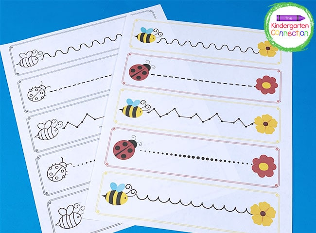 These Bees and Bugs Pre-Writing Practice printables include both a color and a black & white version.