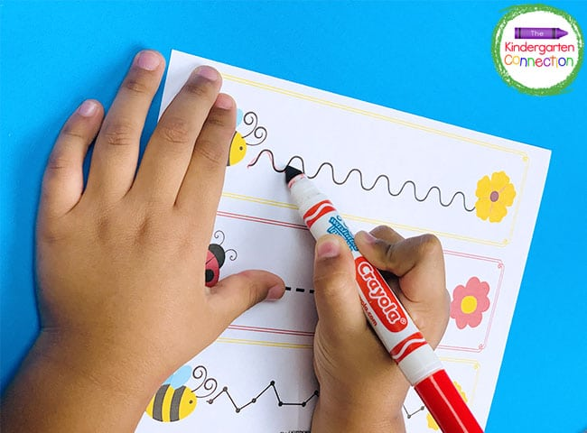 This pre-writing practice activity strengthens fine motor skills, pencil control, and directionality.