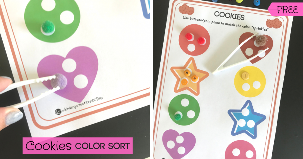Get our FREE Color Sorting Printable Activity with a cookie theme for your preschool, pre-k or kindergarten class! This easy-prep center is great for working fine motor muscles while students practice matching colors!