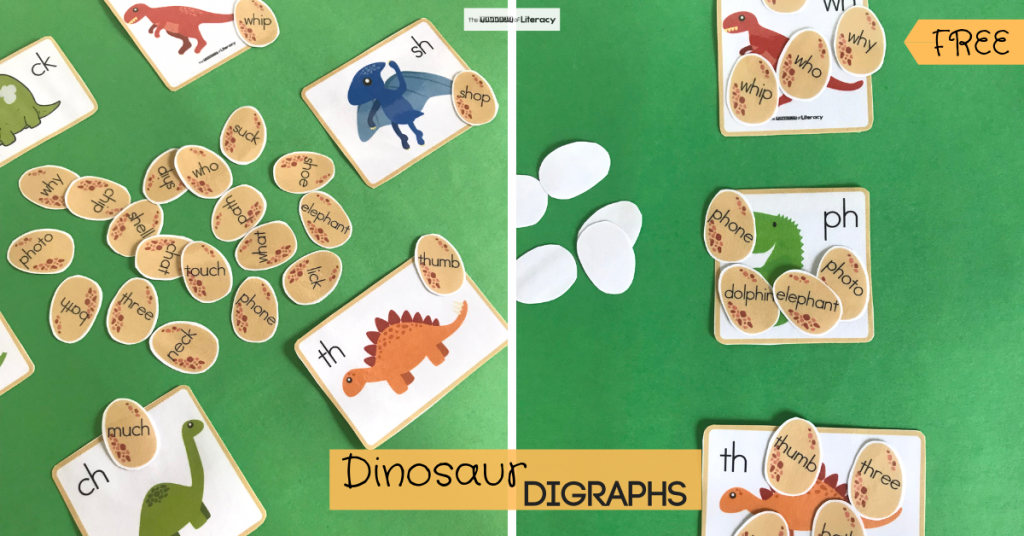 Grab our FREE Printable Dinosaur Digraph Activity! This literacy center is great for kindergarten students!