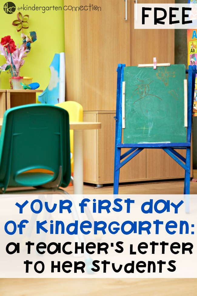 Welcome your Kindergarten students on their First Day of School with this free printable teacher's letter to her students!