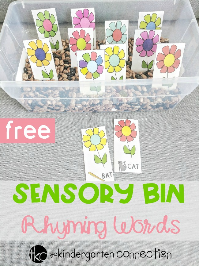 Our Flower Garden Rhyming Words Sensory Bin Printables are perfect for your small groups or literacy center! Simple print, laminate and add some beans to a plastic bin for an easy-prep rhyming words activity!