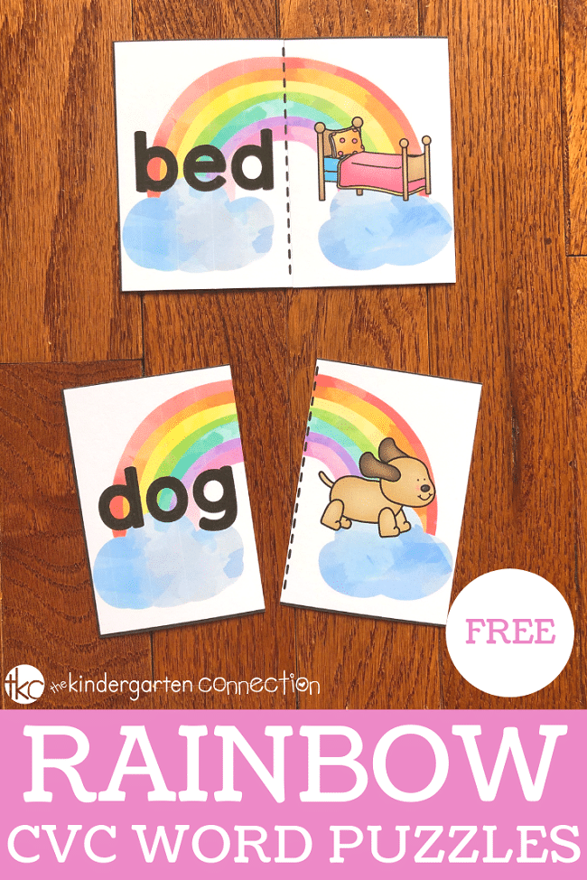 These FREE Printable Rainbow CVC Word Puzzles are so much fun! They're great for your kindergarten literacy center!
