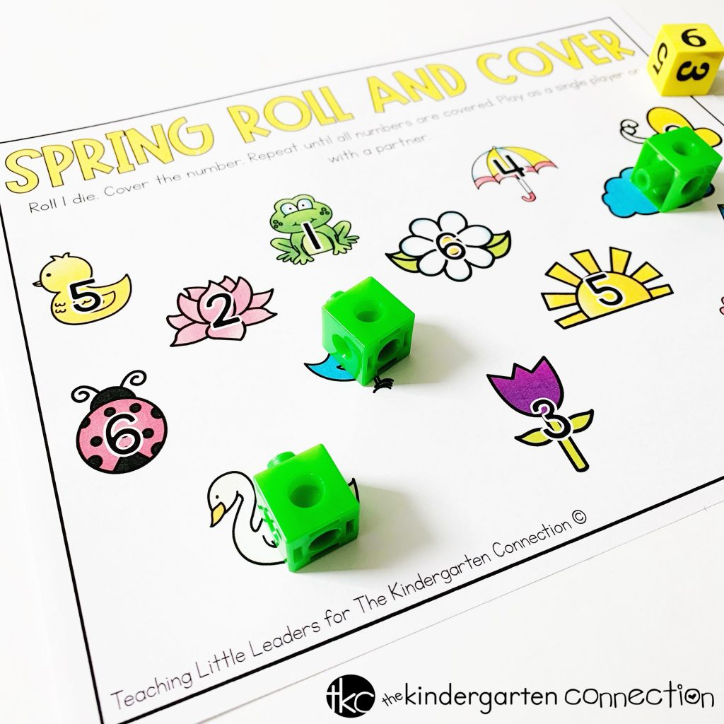 This FREE Printable Spring Roll and Cover Math Activity can be played in 2 different ways! Use for number identification and addition! 2 printables included in download!