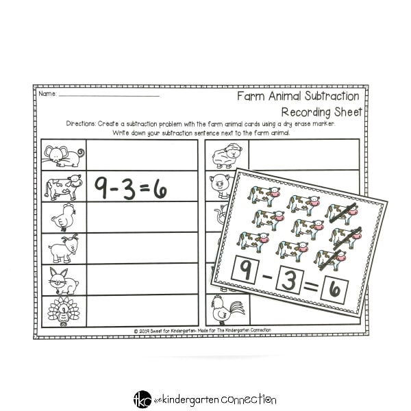 FREE Printable Farm Animal Subtraction Cards for Kindergarten Math Centers! Simply print, laminate and add dry erase markers for an instant math center!