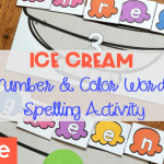 Number Word and Color Word Ice Cream Spelling Activity