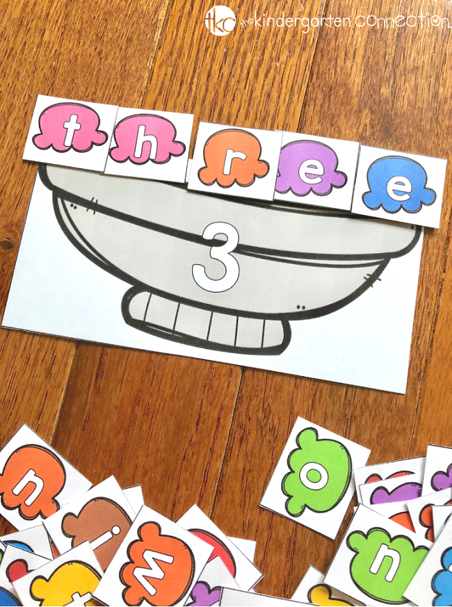 Grab this FREE Printable Number Word and Color Word Ice Cream Spelling Activity for Kindergarten! It's perfect for a small group, or with a partner and also suitable for your literacy center!