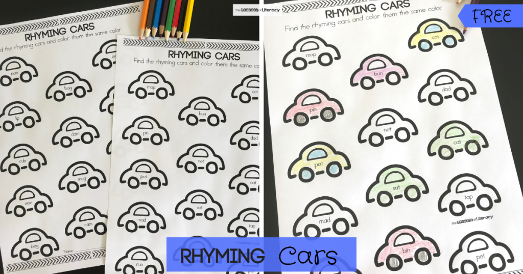Get our FREE Cars Rhyming Activity Printables for your kindergarten literacy center! Students simply color in the rhyming cars pairs!